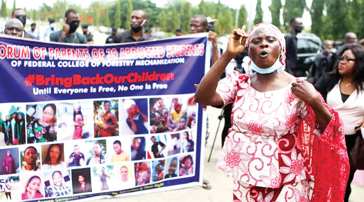 Parents Of 39 Abducted Kaduna Students Protest At National Assembly, Reps Step In