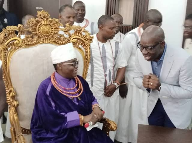 COWED? Obaseki In Desperate Move To Mend Fences With Oba Of Benin Over Stolen Artifacts