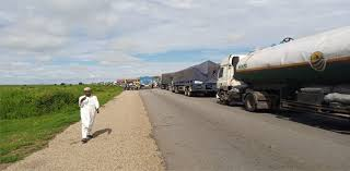 Truck Drivers Protesting Police Brutality Block Numan-Gombe Road
