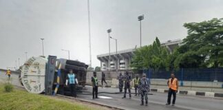 Danger Averted As Fuel Tanker Falls In Lagos, Spills Content
